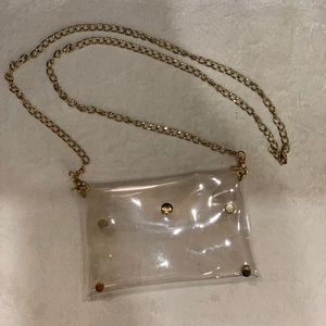 Clear purse with removable gold chain